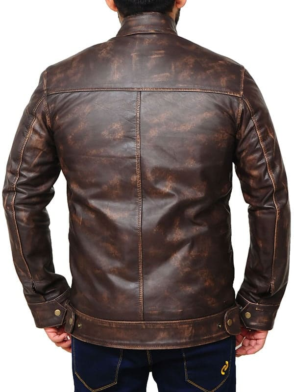 Angus MacGyver Distressed Leather Brown Jacket