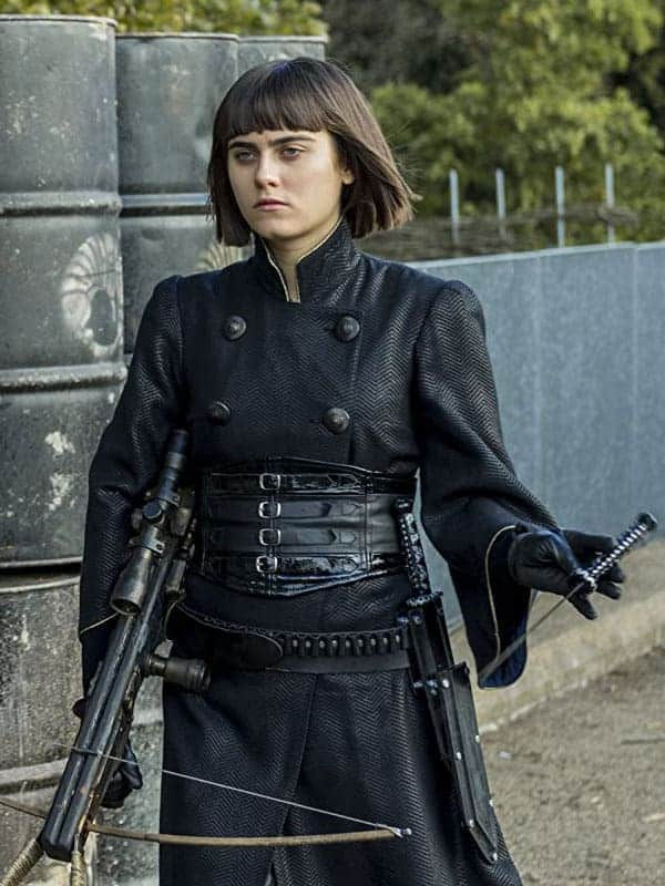 Black Leather Coat worn by Ally Ioannides in Tv Series Into the Badlands