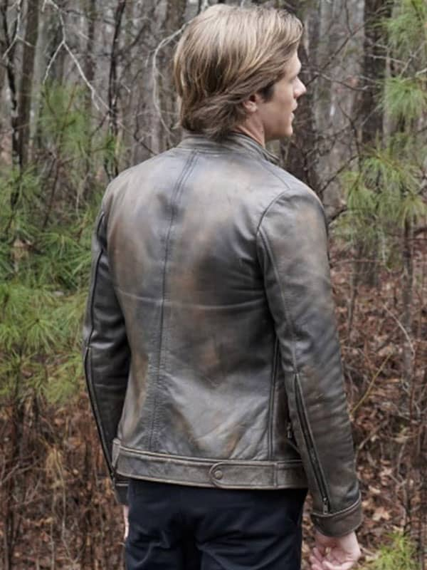 Brown Distressed Leather Jacket worn by Angus in MacGyver