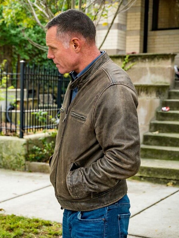 Distressed Brown Leather Jacket worn by Jason Beghe in Tv Series Chicago P.D.