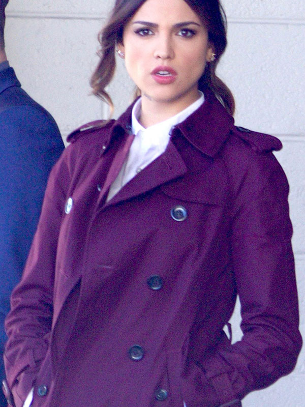 Double Breasted Trench Coat worn by Eiza Gonzalez in Baby Driver