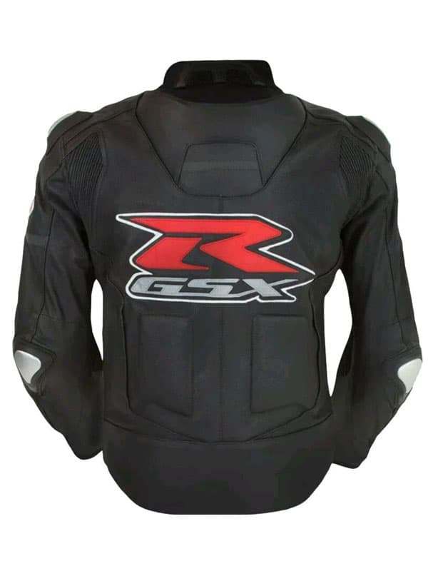 GSX R Black Leather Jacket With Padded at JacketsJunction