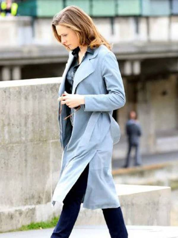 Grey Trench Coat worn by Rebecca Ferguson in Mission Impossibe 6