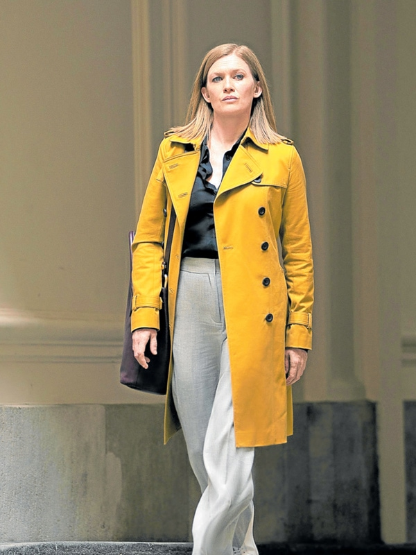 Hanna Mireille Enos Double Breasted Yellow Coat