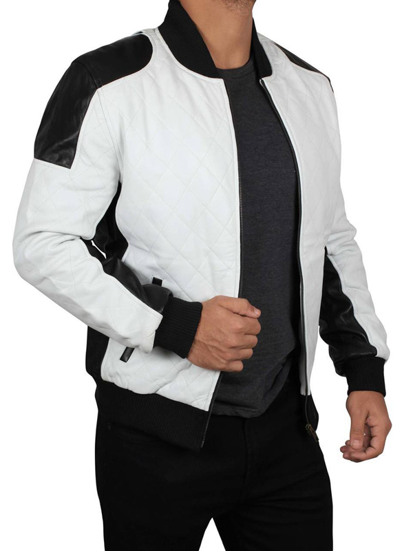 Joliet Perforated White Black Leather Jacket