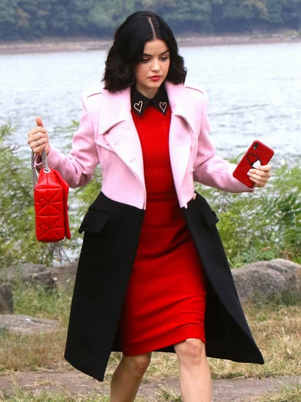 Katy Keene Tv Series Lucy Hale Pink and Black Trench Coat