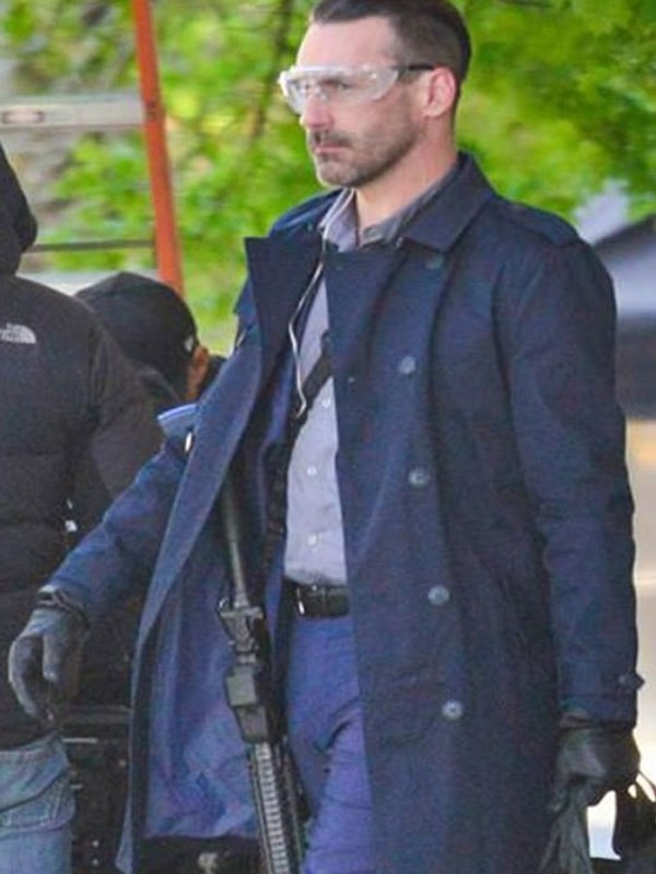 Long Trench Blue Coat worn by John Hamm in Baby Driver