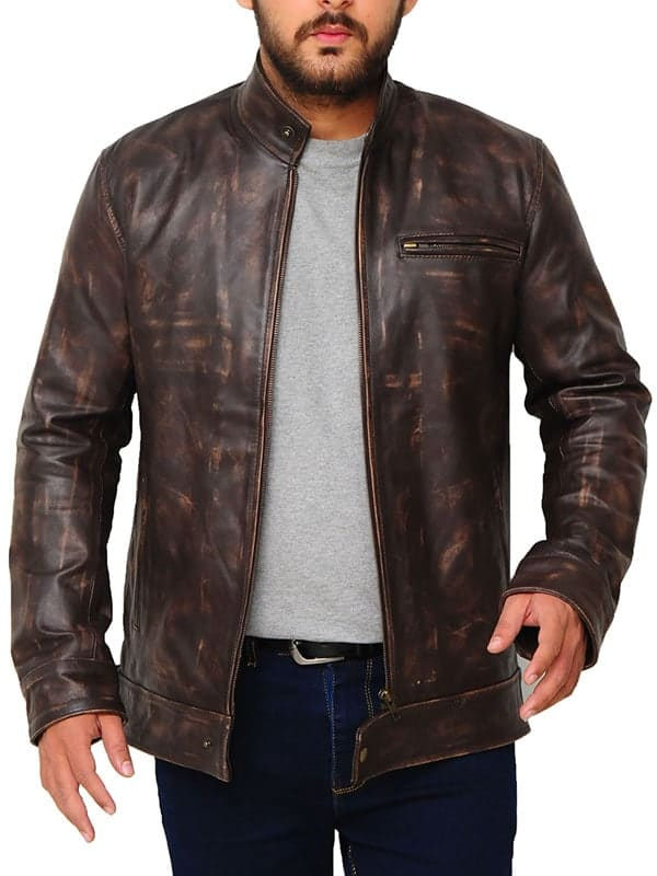 Lucas Till Angus MacGyver Brown Distressed Leather Jacket