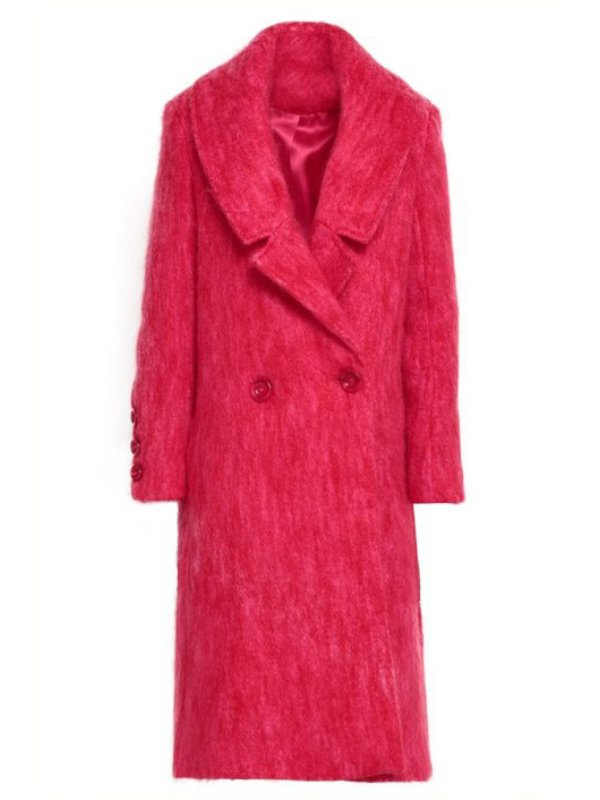 Lucy Hale Long Red Coat 1