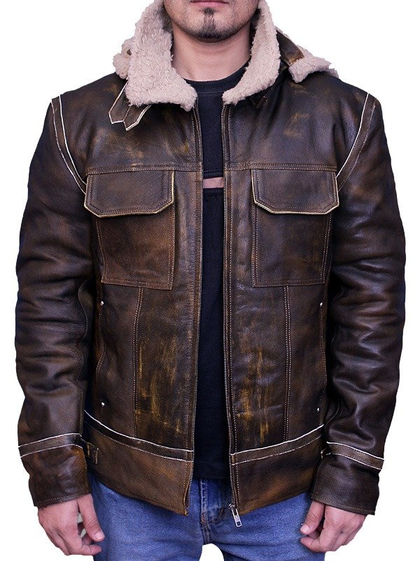Men Aviator Leather Bomber Jacket with Fur Hood Brown Front