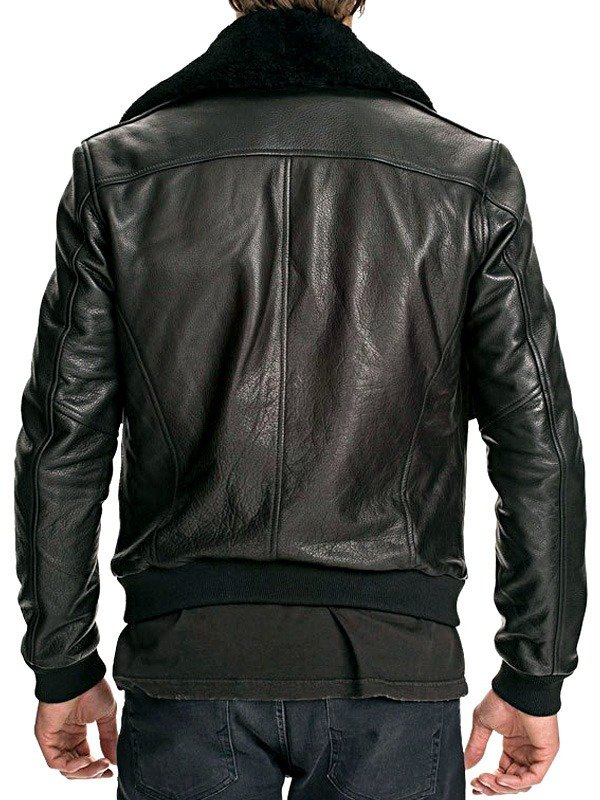 Mens Air Force Leather Bomber Jacket Classic Black Fur Collar BACK