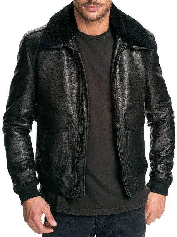 Mens Air Force Leather Bomber Jacket Classic Black Fur Collar FRONT