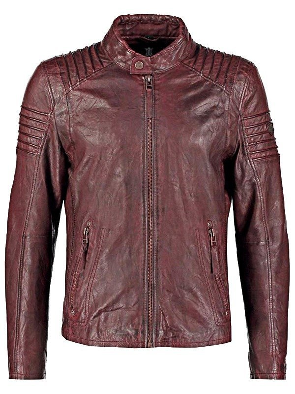 Mens Burgundy Copper Waxed Cafe Racer Leather Jacket FRONT