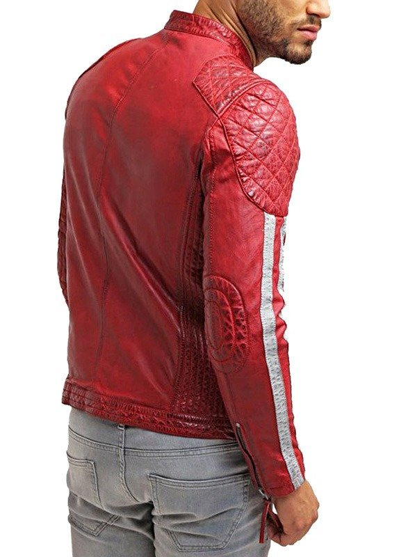 Mens Cafe Racer Motorcycle Leather Jacket Red with White Stripes BACK