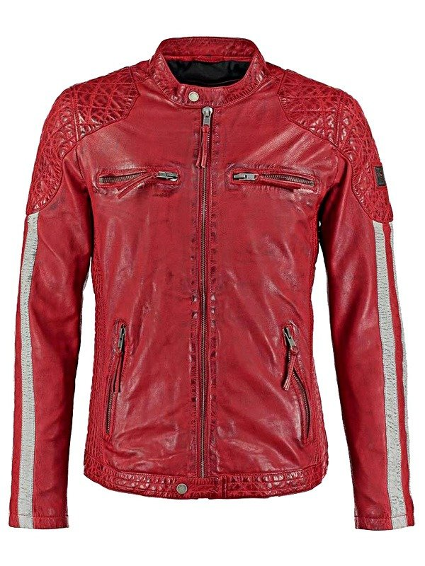 Mens Cafe Racer Motorcycle Leather Jacket Red with White Stripes FRONT