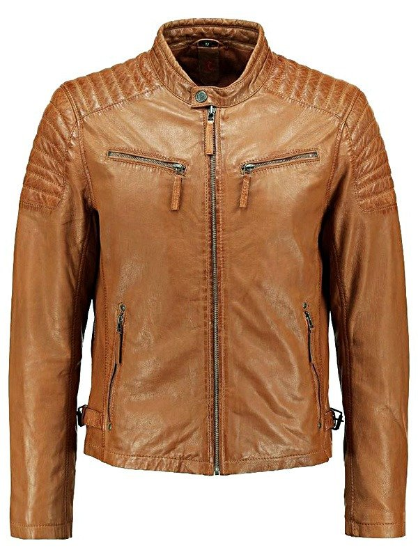 Mens Cafe Racer Waxed Sheepskin Quilted Leather Biker Jacket Tan Brown FRONT