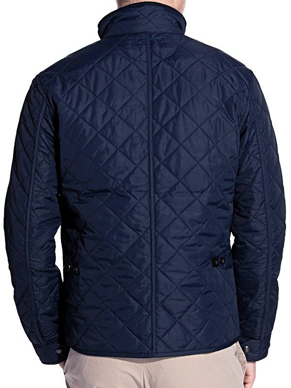 Mens Quilted Cordura Jacket Blue Stand Collar BACK