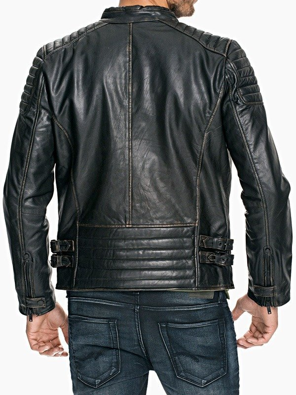Mens Quilted Distressed Rub Off Leather Jacket Black BACK