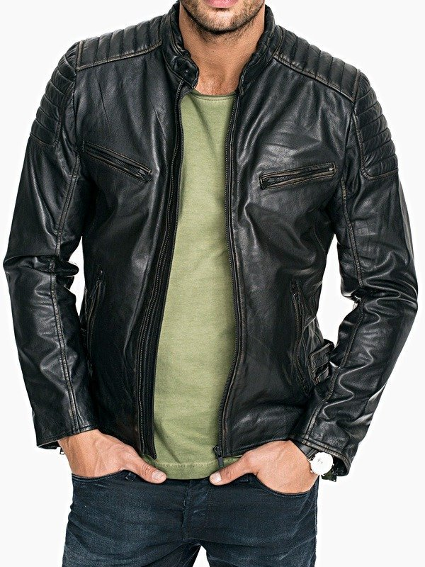Mens Quilted Distressed Rub Off Leather Jacket Black FRONT