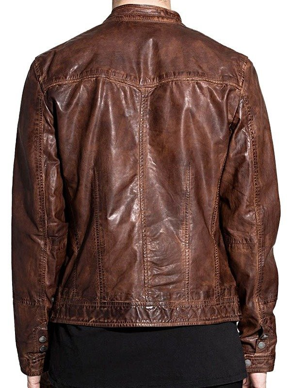 Mens Retro Style Cafe Racer Waxed Cowhide Leather Jacket Brown BACK
