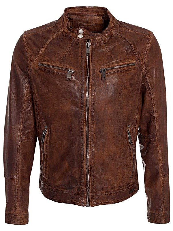 Mens Retro Style Cafe Racer Waxed Cowhide Leather Jacket Brown FRONT