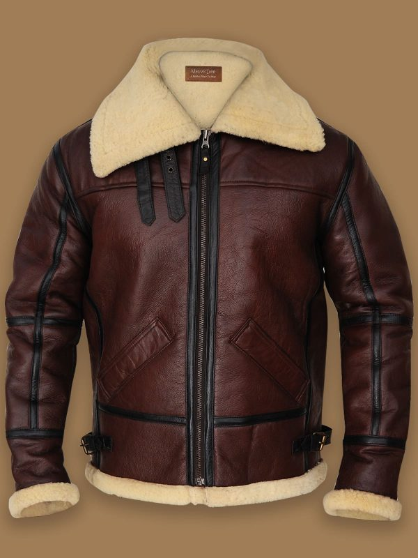 Mens Shearling Brown Bomber Leather Jacket