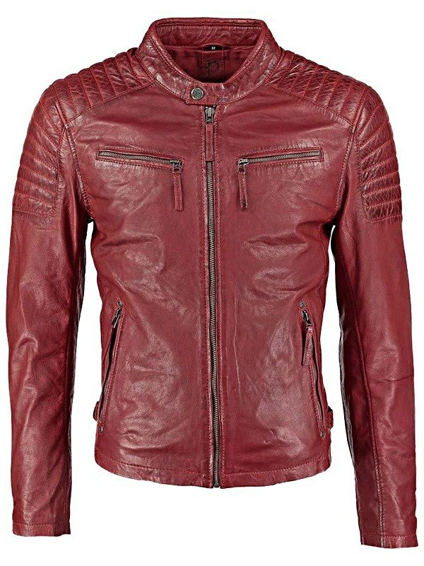 Mens Waxed Sheepskin Quilted Leather Jacket Maroon Red FRONT 1