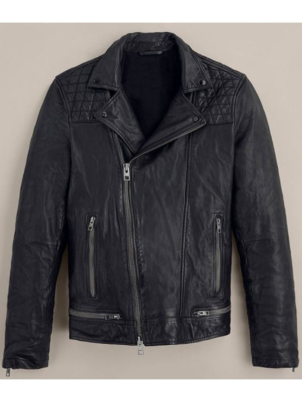 Quilted Black Biker Leather Jacket Worn by Tony Padilla in 13 Reason Why
