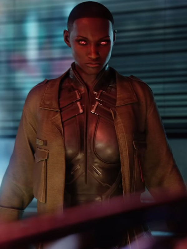 Videogame Cyberpunk 2077 T Bug Brown Leather Jacket