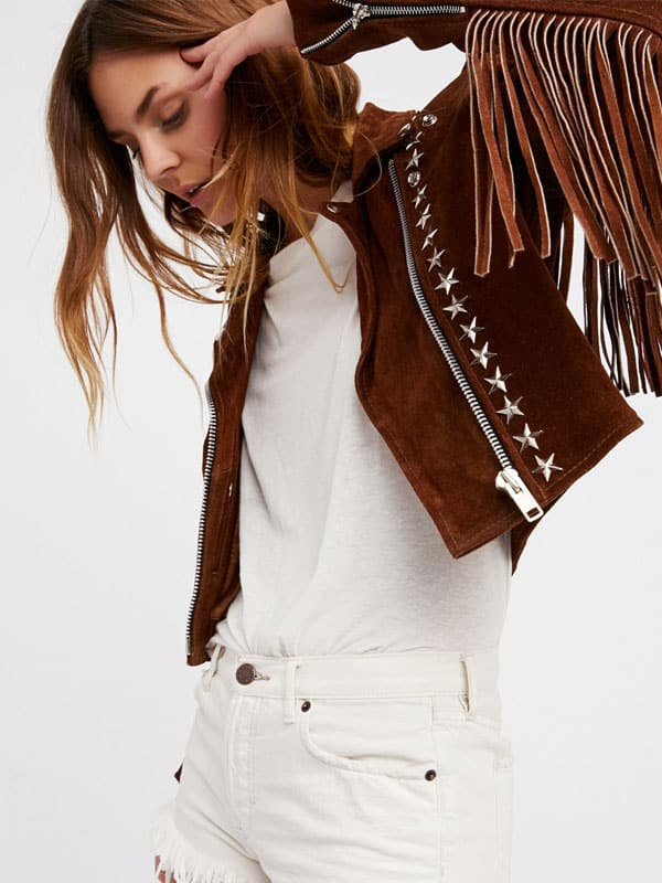 Women Fashion Suede Leather Brown Jacket