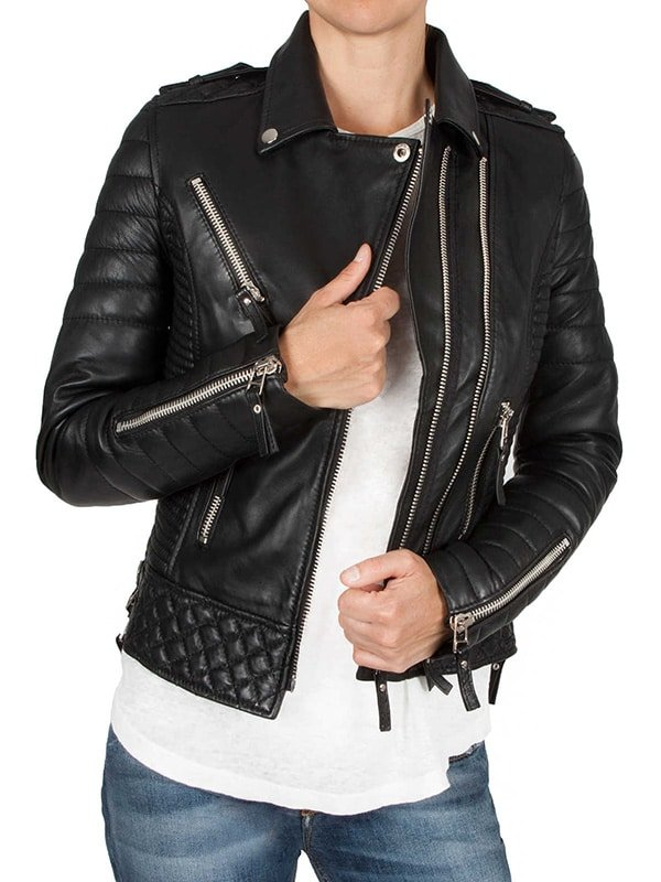 Womens Boda Sheep skins Quilted Slimfit Real Leather Jacket 1