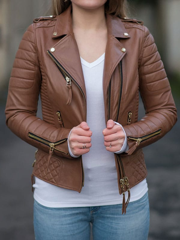 Womens Boda Style Quilted Leather Biker Jacket Brown 4