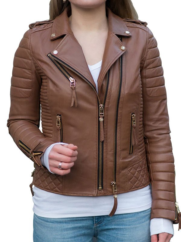 Womens Boda Style Quilted Leather Biker Jacket Brown 5