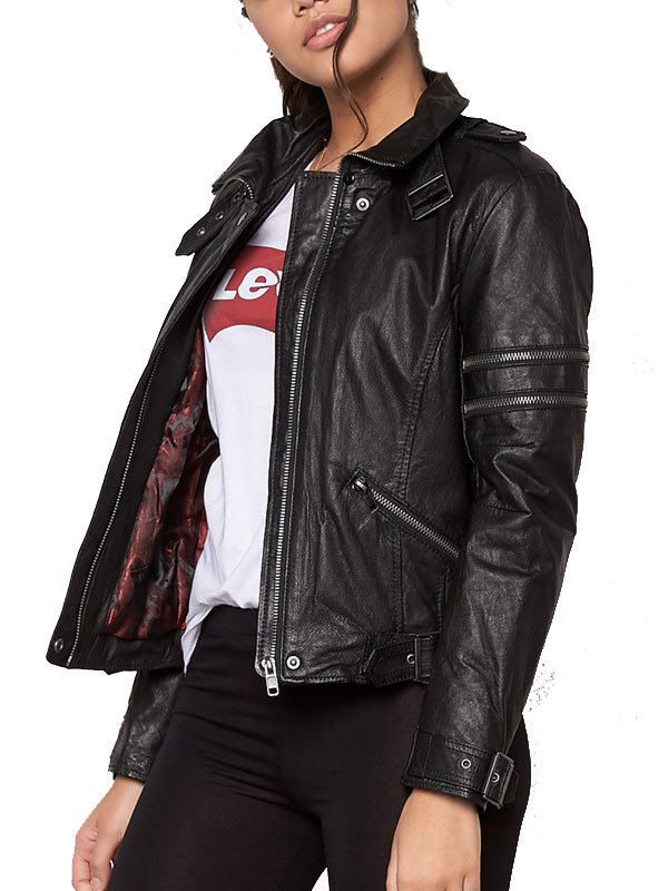 Womens Cafe Racer Leather Motorcycle Jacket Black 01