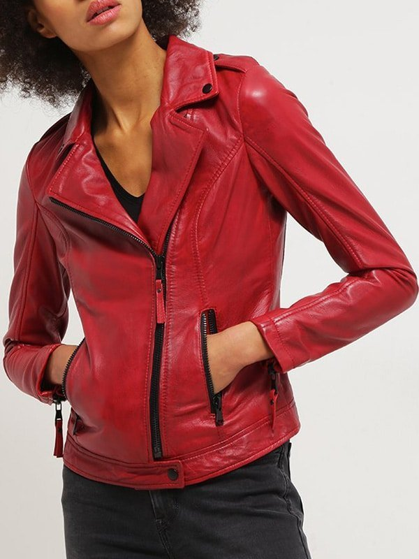 Womens Real Leather Motorcycle Jacket Red 1