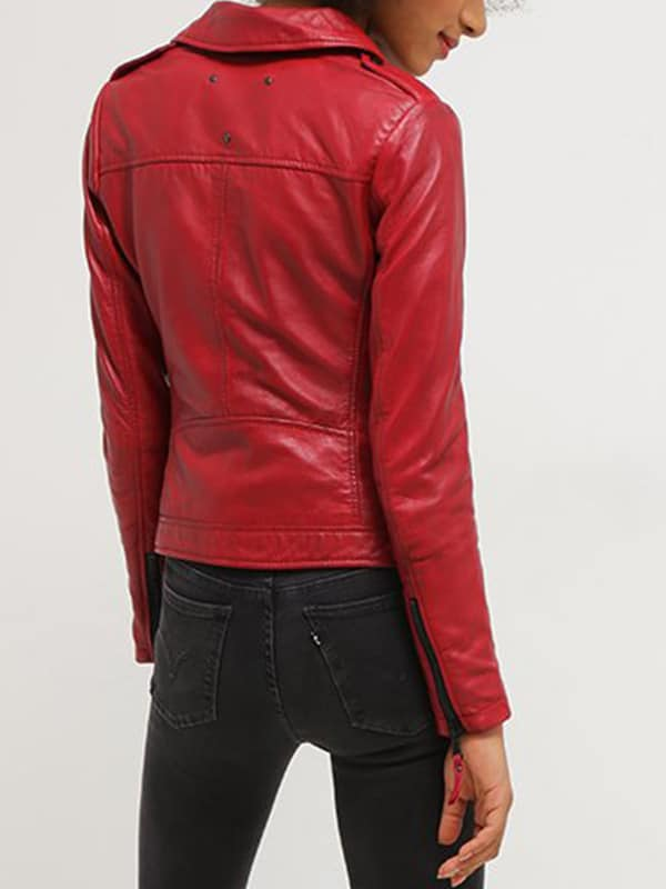 Womens Real Leather Motorcycle Jacket Red 2