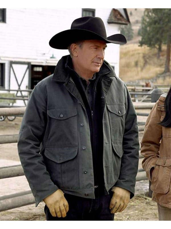 kevin Costner Yellowstone Green Cotton Jacket 2